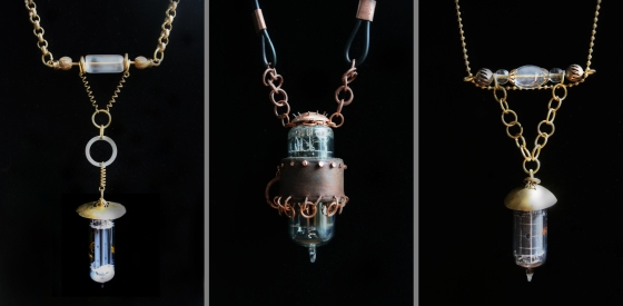 Steambot Drops (vintage radio vacuum tubes, brass, copper, vintage beads, leather)